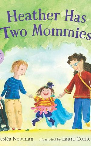The book jacket of the new edition of 'Heather Has Two Mommies,' which features new color illustrations by Laura Cornell. (Courtesy of Candlewick Press/ via JTA)