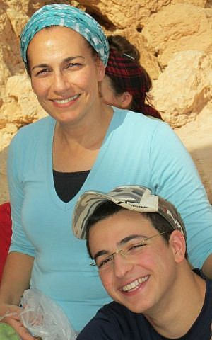 Bat-Galim Shaer with her son Gil-ad Shaer, who was kidnapped and murdered by Palestinian terrorists in June, 2014. (Courtesy)
