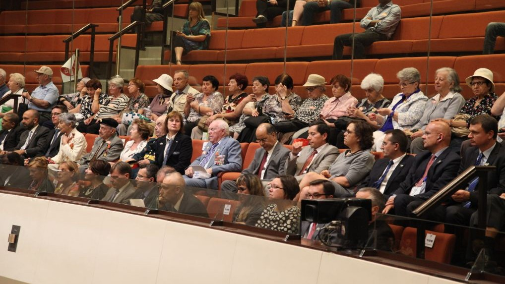 Veterans who fought in World War II at the Knesset during a special session marking the 70th anniversary of the victory against Nazi Germany. (Photo credit: Knesset)