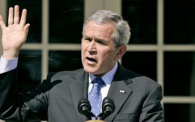 In this April 3, 2007 file photo, President Bush speaks about the congressional debate on Iraq war spending, in Rose Garden of the White House in Washington. (AP/Charles Dharapak)