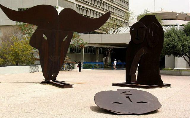 Menashe Kadishman's Binding of Isaac sculpture outside the Tel Aviv Museum (photo credit: CC BY-SA GFDL, Wikimedia Commons)
