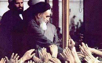 Ayatollah Ruhollah Khomeini greets followers in Iran. (Wikimedia/public domain)