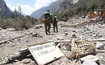 An Israeli search and rescue team in Ghodatabel, near the Langtang trekking route, this week. (photo credit: IDF Spokesman's Unit)