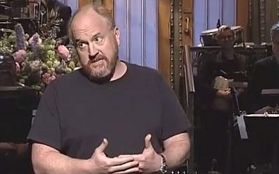 Comedian Louis C.K. performs on 'Saturday Night Live, May 16, 2015. (screen capture: YouTube/JaySipher)
