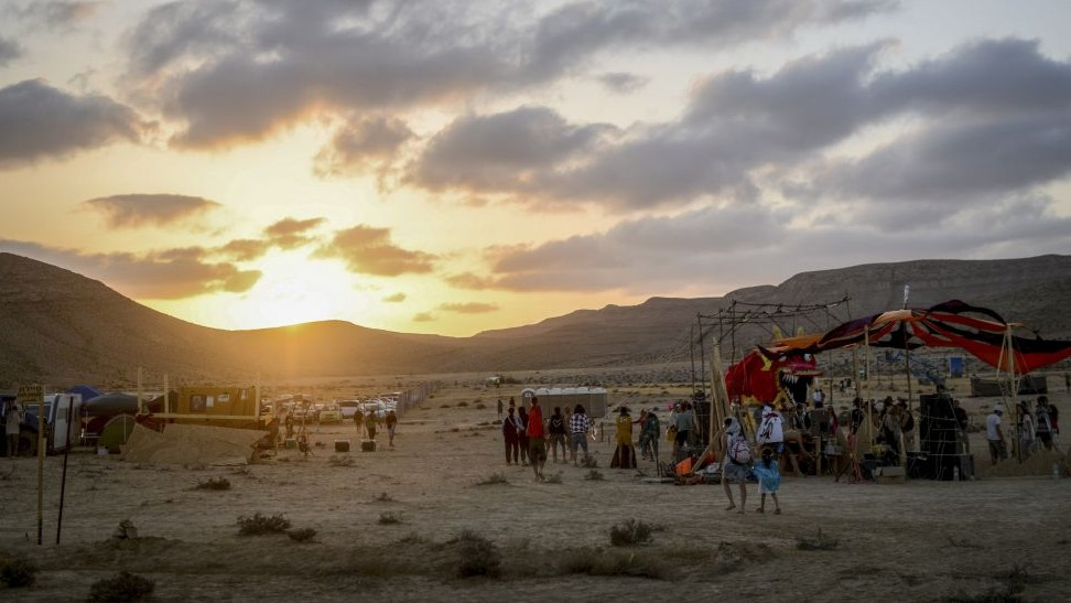 Participants gather at the second annual Midburn festival, the Israeli version of Burning Man on May 24, 2015. (Photo credit: Ben Kelmer/Flash90)
