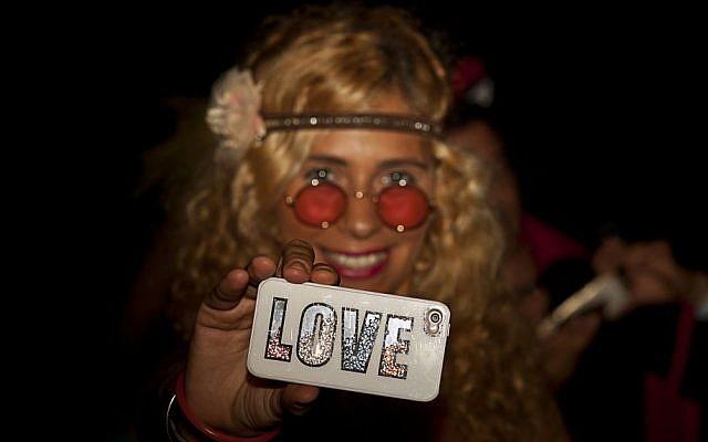 A woman at the second annual Midburn festival,  the Israeli version of Burning Man on May 24, 2015. (Photo credit: Ben Kelmer/Flash90)