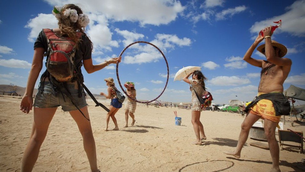 Participants at the second annual Midburn festival, the Israeli version of Burning Man on May 24, 2015. (Photo credit: Ben Kelmer/Flash90)