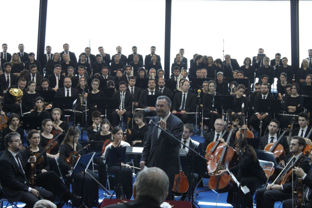 The AJC's Rabbi David Rosen ahead of a performance of 'The Suffering of the Innocents,' performed by the orchestra and choir of the Neocatechumenal Way in the Galilee to mark 70 years to the end of the Holocaust. (courtesy)