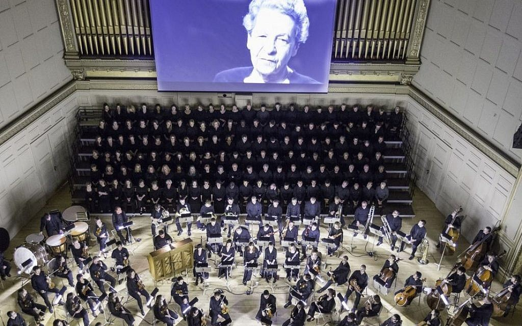 A performance of 'Defiant Requiem: Verdi at Terezin' at Boston's Symphony Hall on April 27, 2015. Originally led by conductor Raphael Schachter, 150 Terezin inmates learned Verdi's Requiem mass by rote, and performed it sixteen times. (photo credit: Michael J. Lutch)