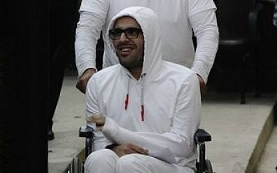 Mohammed Soltan during a court appearance in Cairo, Egypt on March 9, 2015 (AP Photo/Heba Elkholy)