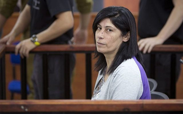 Palestinian lawmaker Khalida Jarrar of the Popular Front for the Liberation of Palestine (PFLP) at a court session at the Ofer military base near Ramallah, May 21, 2015. (AP/Majdi Mohammed)
