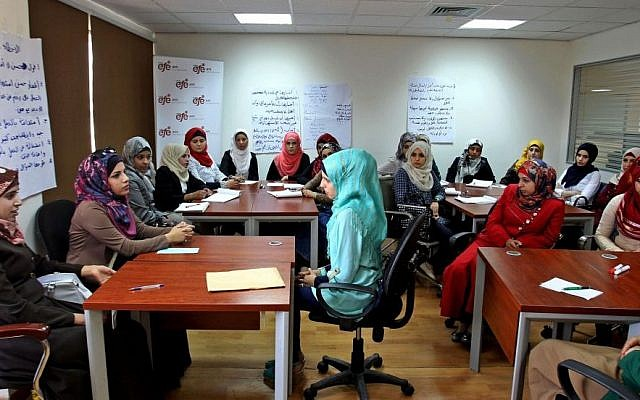 In this Wednesday, May 20, 2015 photo, young women participate in job training at the Jordan office of Employment for Education, a region-wide organization that trains job seekers and connects them with prospective employers in Amman, Jordan. For millions of young people in the Middle East and North Africa, jobs remain out of reach and the problem of youth unemployment has only worsened in the post-Arab Spring turmoil. (Photo credit: AP/Raad Adayleh)