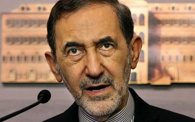 Ali Akbar Velayati, an adviser to Iran's Supreme Leader Ayatollah Ali Khamenei, on Monday, May 18, 2015 (AP Photo/Hussein Malla)