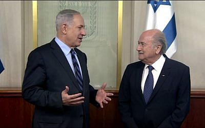 Prime Minister Benjamin Netanyahu meets with then-FIFA president Sepp Blatter, May 19, 2015 (screen capture: YouTube/IsraeliPM)