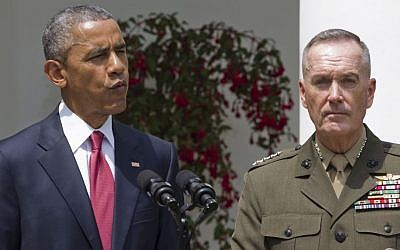 President Barack Obama announces that he will nominate Marine Gen. Joseph Dunford Jr. as the next chairman of the Joint Chiefs of Staff, in the Rose Garden of the White House in Washington, May 5, 2015. (photo credit: AP/Jacquelyn Martin)