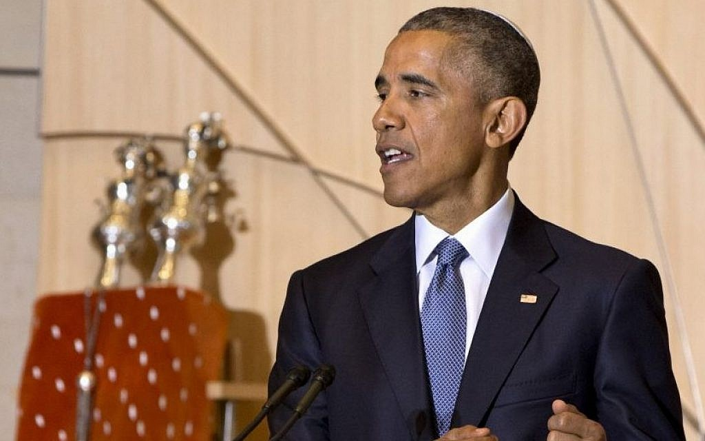 President Barack Obama speaks at Adas Israel Congregation in Washington, Friday May 22, 2015. (AP Photo/Jacquelyn Martin)