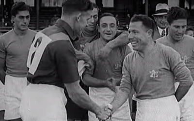 Palestine's 1939 soccer team. (JTA, British Pathé/YouTube)