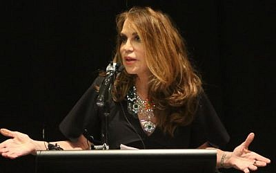 Pamela Geller, cofounder and president of Stop Islamization of America, is shown during the American Freedom Defense Initiative program at the Curtis Culwell Center in Garland, Texas, on May 3, 2015. (photo credit: Gregory Castillo/The Dallas Morning News via AP)