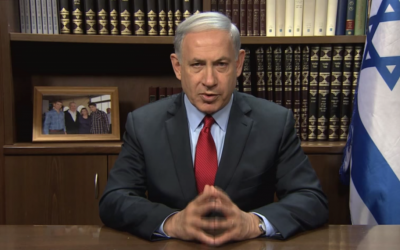 Prime Minister Benjamin Netanyahu addresses the Washington Institute for Near East Policy (screen capture: YouTube)