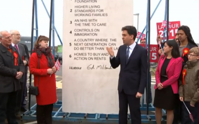 British Labour Party leader Ed Miliband stands in front of a monolith etched with his party's pledges ahead of the May 7, 2015 general elections. (screen capture: Daily Mail)
