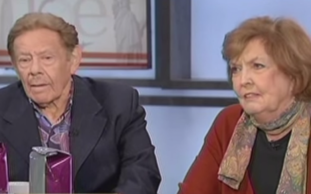 Ben Stiller's parents, Jerry Stiller and Anne Meara on MSNBC's Morning Joe in 2011 (screen capture: YouTube)