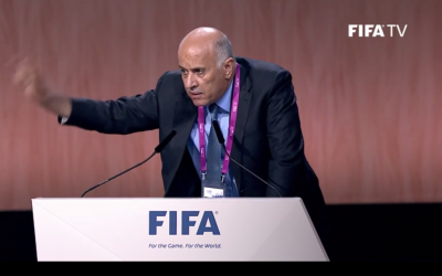 Palestinian Football Association President Jibril Rajoub addresses the FIFA Congress on May 29, 2015 (screen capture: FIFA)