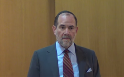 Rabbi Jonathan Rosenblatt speaking at the Riverdale Jewish Center in New York on February 26, 2014. (Screen grab: YouTube)