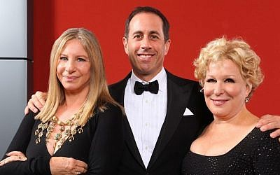 The faces of Jewish heritage? Barbra Streisand, left, Jerry Seinfeld and Bette Midler at a gala celebrating the opening of the National Museum of American Jewish History, November 13, 2010. (Mike Coppola/Getty Images/JTA)