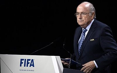 FIFA president Sepp Blatter delivers a speech during the 65th FIFA Congress held at the Hallenstadion in Zurich, Switzerland, Friday, May 29, 2015, where he ran for re-election. (Walter Bieri/Keystone via AP)