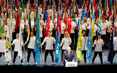 FIFA President Sepp Blatter, front, speaks at the opening ceremony of the FIFA congress in Zurich, Switzerland, Thursday, May 28, 2015. (Walter Bieri/Keystone via AP)