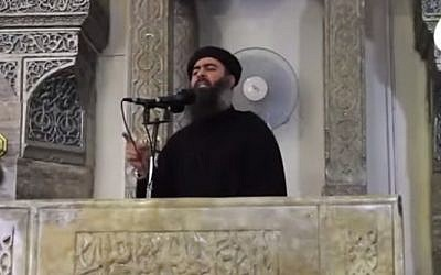 File: Islamic State leader Abu Bakr al-Baghdadi giving a sermon. (screen capture: YouTube)
