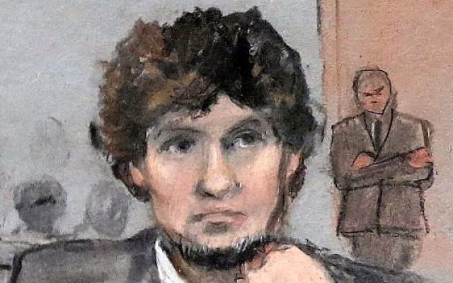 A courtroom sketch of Boston bomber Dzhokhar Tsarnaev (YouTube screen capture)