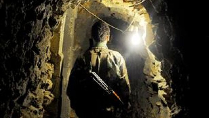 A picture purportedly from inside a Hezbollah tunnel on the northern border, as shown by As-Safir (As-Safir photo)