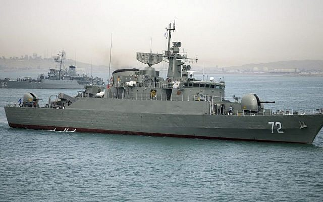 Iranian destroyer Alborz,  seen before leaving Iran's waters on April 7, 2015. (Photo credit: AP)