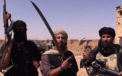 Islamic State fighters in a video produced by the group (YouTube screen capture/VICE News)