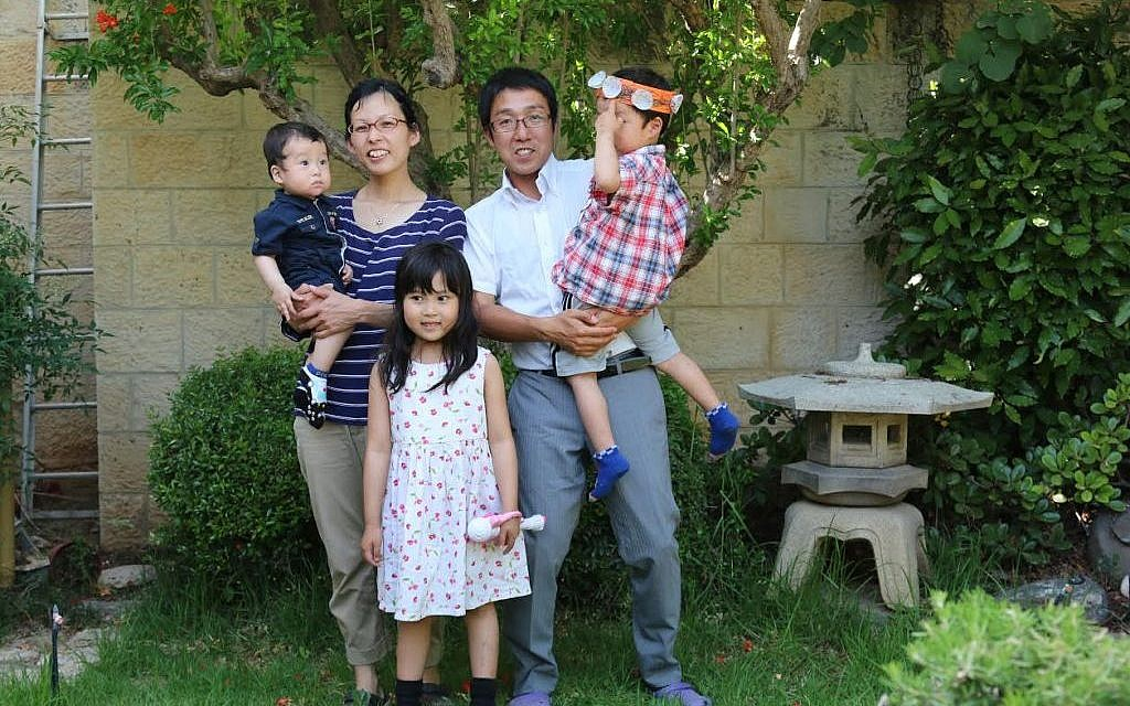 Jerusalem Makuya Center director Asher Seito Kimura, his wife Tzofiya and their children Shmuel  Bar-Am)