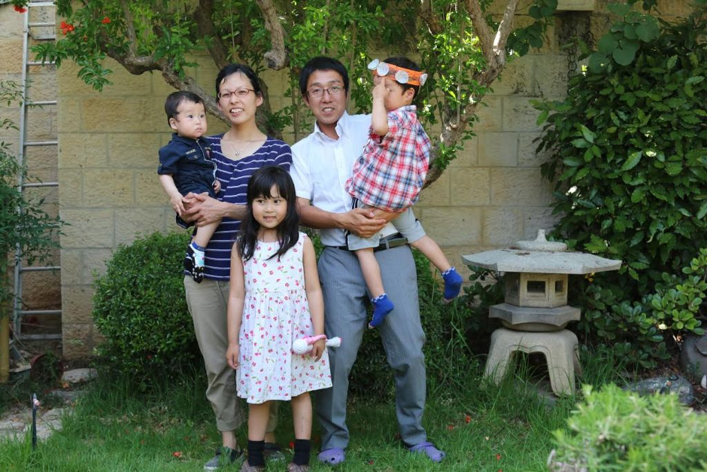 Jerusalem Makuya Center director Asher Seito Kimura, his wife Tzofiya and their children (Shmuel Bar-Am)