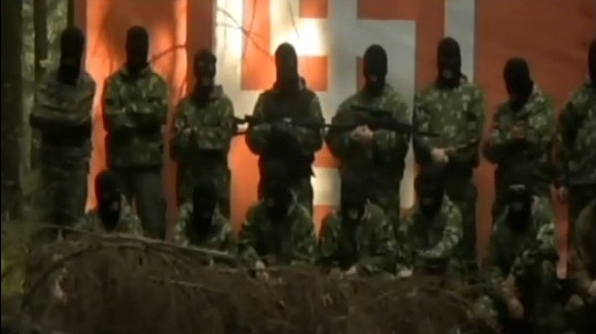 Russian neo-Nazi militants (Channel 2 News/'Credit for Murder')