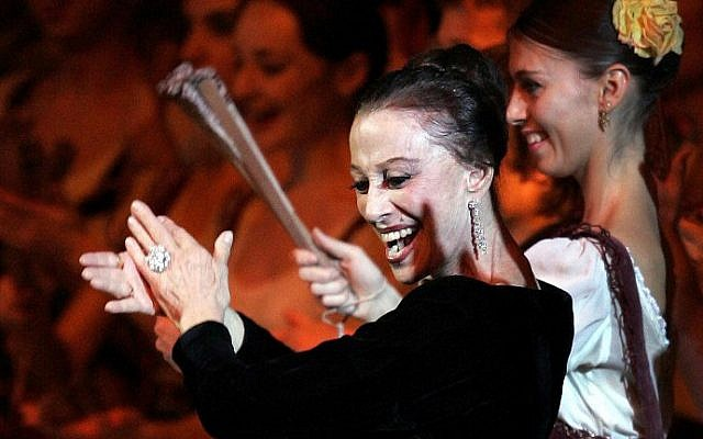 A file picture taken on November 20, 2005 shows Russian ballet dancer Maya Plisetskaya dancing during a performance in her honor on stage at the Kremlin Palace in Moscow (photo credit: AFP/ YURI KADOBNOV)