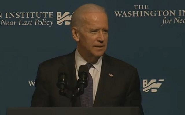 US Vice President Joe Biden speaks at the Washington Institute for Near East Policy on April 30, 2015. (Photo credit: screenshot)