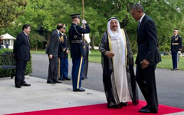 US President Barack Obama, right, and Sheikh Sabah Al-Ahmed Al-Jaber Al-Sabah, emir of Kuwait, at the South Lawn of the White House in Washington, Wednesday, May 13, 2015. (Photo credit: AP/Carolyn Kaster)