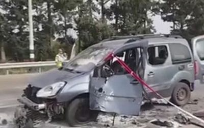 The scene of a car bombing near Nahariya on May 28, 2015. (Screen capture: 0404 via Facebook)