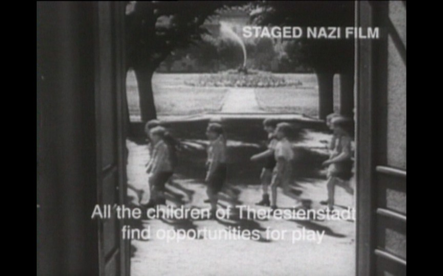 A scene from the Nazi propaganda film, 'The Fuhrer Gives the Jews a City,' staged inside the Theresienstadt 'camp-ghetto.' This scene depicts the allegedly idyllic life of the camp's children. (photo courtesy: National Center for Jewish Film)