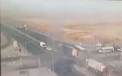 Video footage showing a crash at Lehavim junction on May 21, 2015. (Screen capture: YouTube)