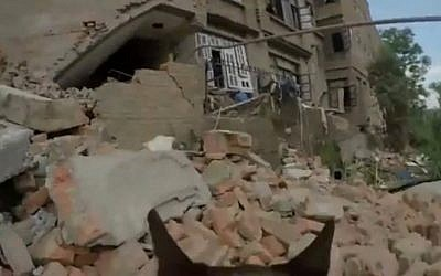 Footage from a camera mounted atop an IDF sniffer dog in Nepal (photo credit: YouTube screen cap)