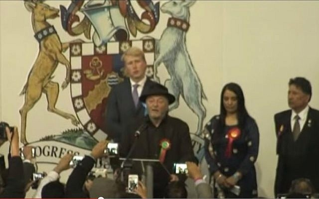 George Galloway (in hat) loses his seat to Labour's Naz Shah in the UK elections, May 7, 2015. (photo credit: YouTube screen capture)