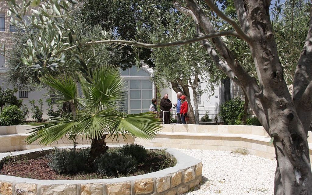 In the garden of the Capuchin monastery in Jerusalem (Shmuel Bar-Am)