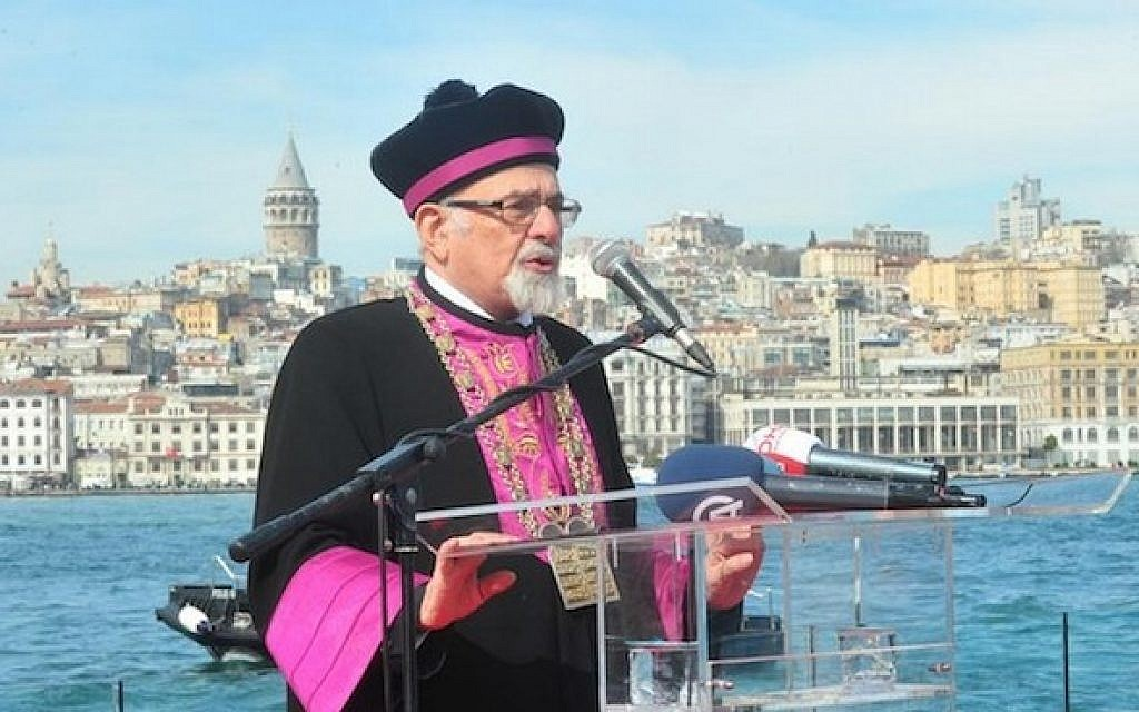 File: Turkish Chief Rabbi Isak Haleva at a commemoration organized by the City of Istanbul for 781 Jewish refugees who drowned in the sinking of the Struma ship in 1942 (JTA/Courtesy of the City of Istanbul)