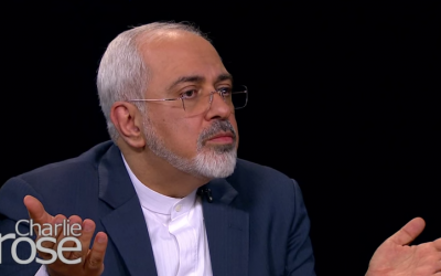 Iranian Foreign Minister Mohammad Javad Zarif speaking with Charlie Rose during an interview broadcast on April 29, 2015. (screen capture: YouTube/Charlie Rose)