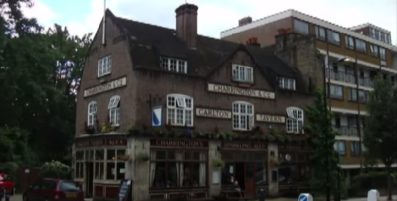 The Carlton Tavern Maida Vale in west London prior to its destruction in April 2015. (screen capture: YouTube/BBC News)